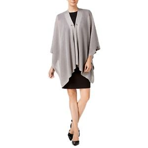 NWT Calvin Klein Open-Knit Toggle Cape - Gray A575